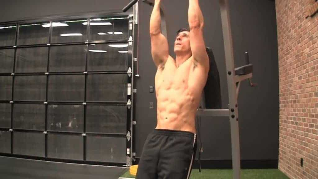 chin-up knee-up is among the best bodyweight exercises for men