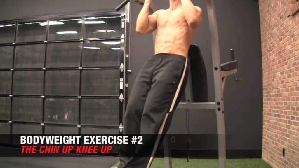 chin-up knee-up is among the best body weight exercises for men