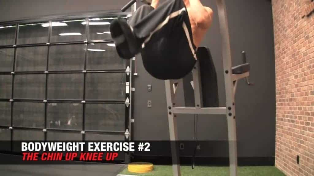 chin-up knee-up is among the best bodyweight workouts for men