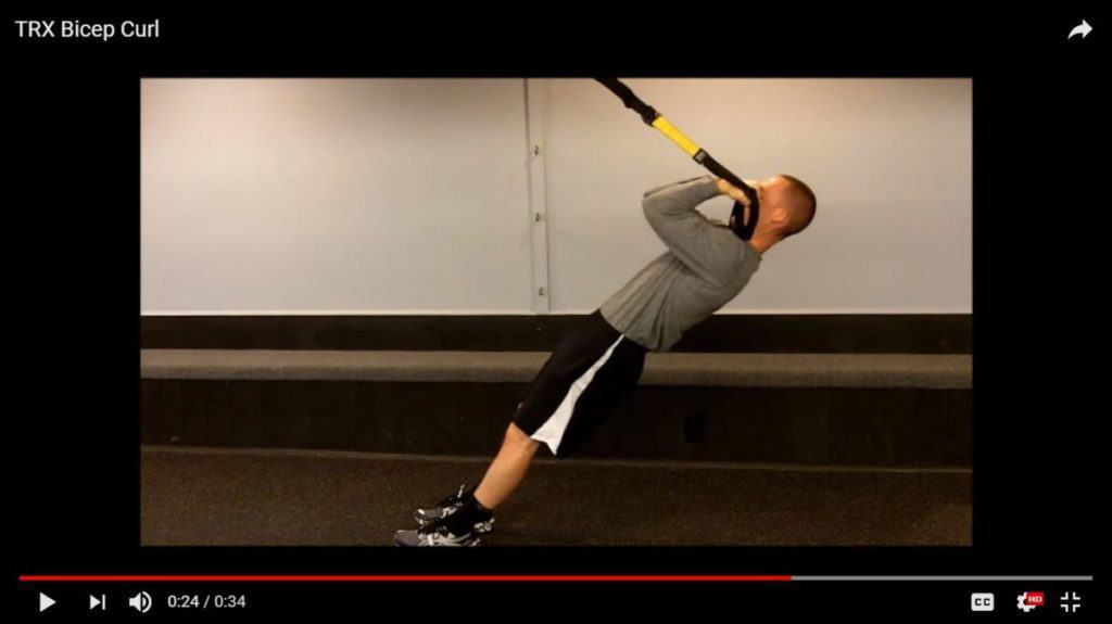 best bodyweight exercises for biceps: TRX biceps curls