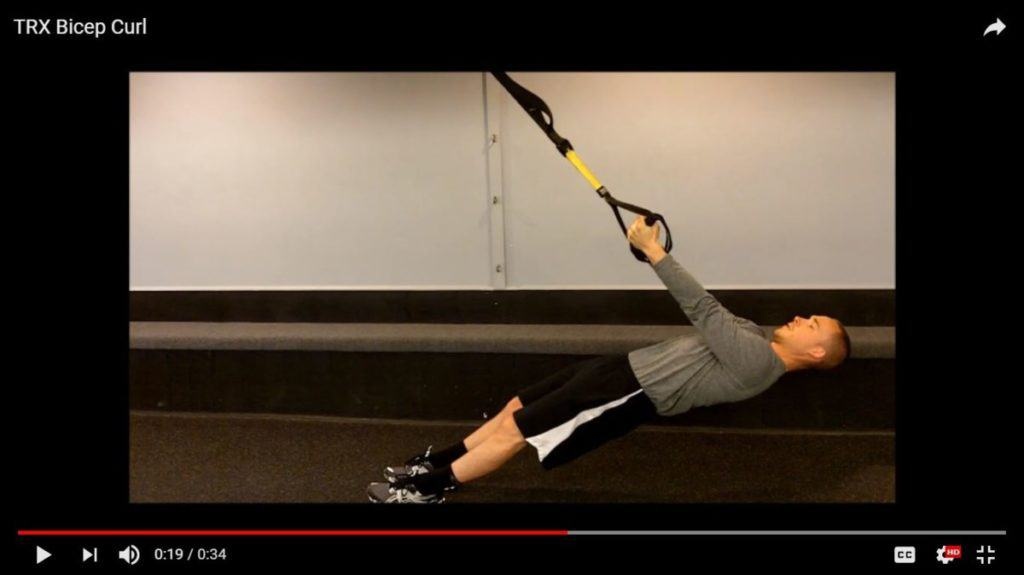 body weight bicep exercises: TRX curls