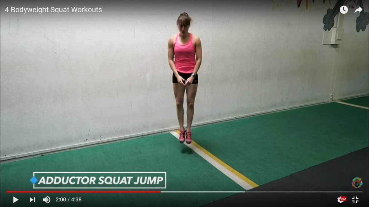 bodyweight squat workout: adductor squat jump