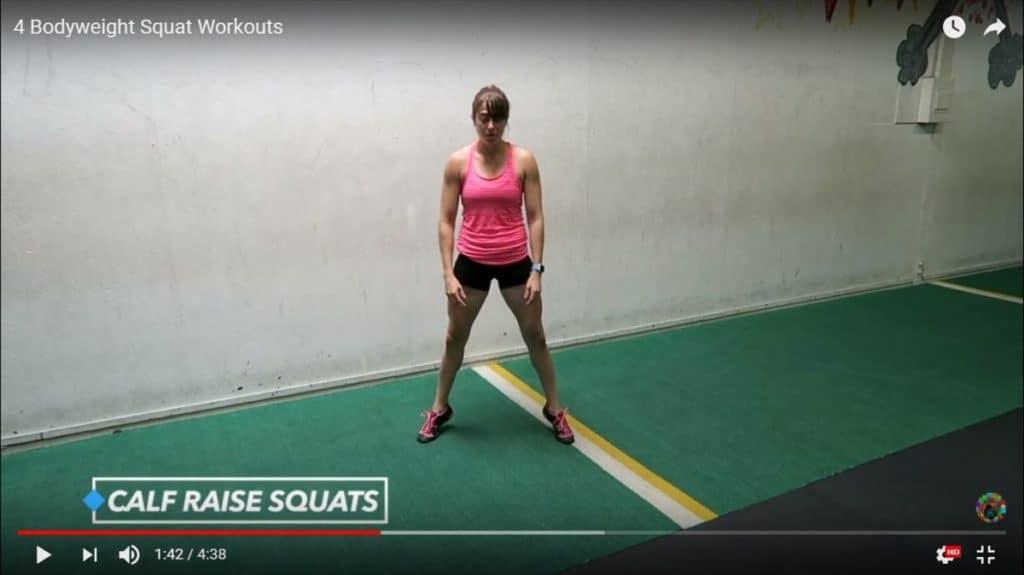 bodyweight squats: calf raise squats