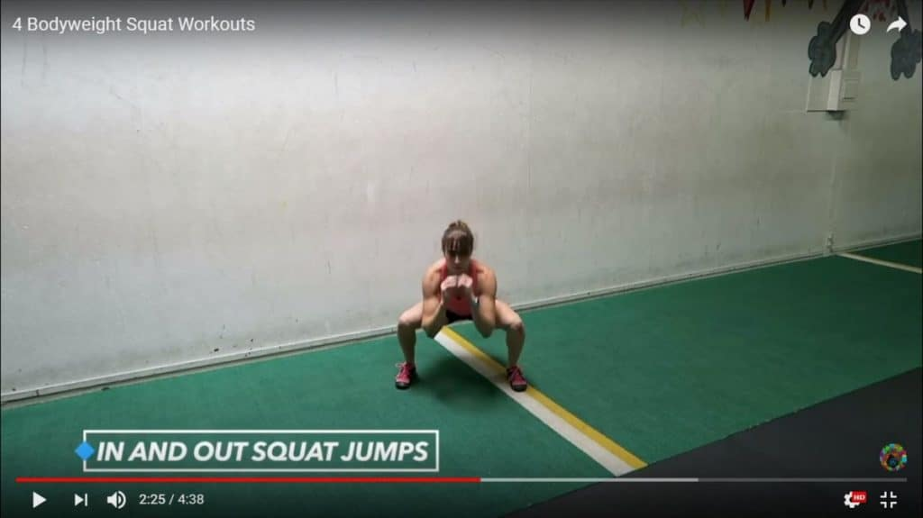 bodyweight squat workout: in and out squat