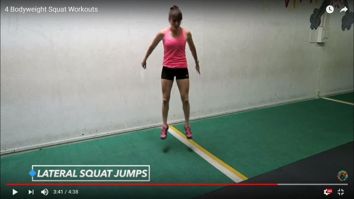 bodyweight squat workout: lateral squat jump