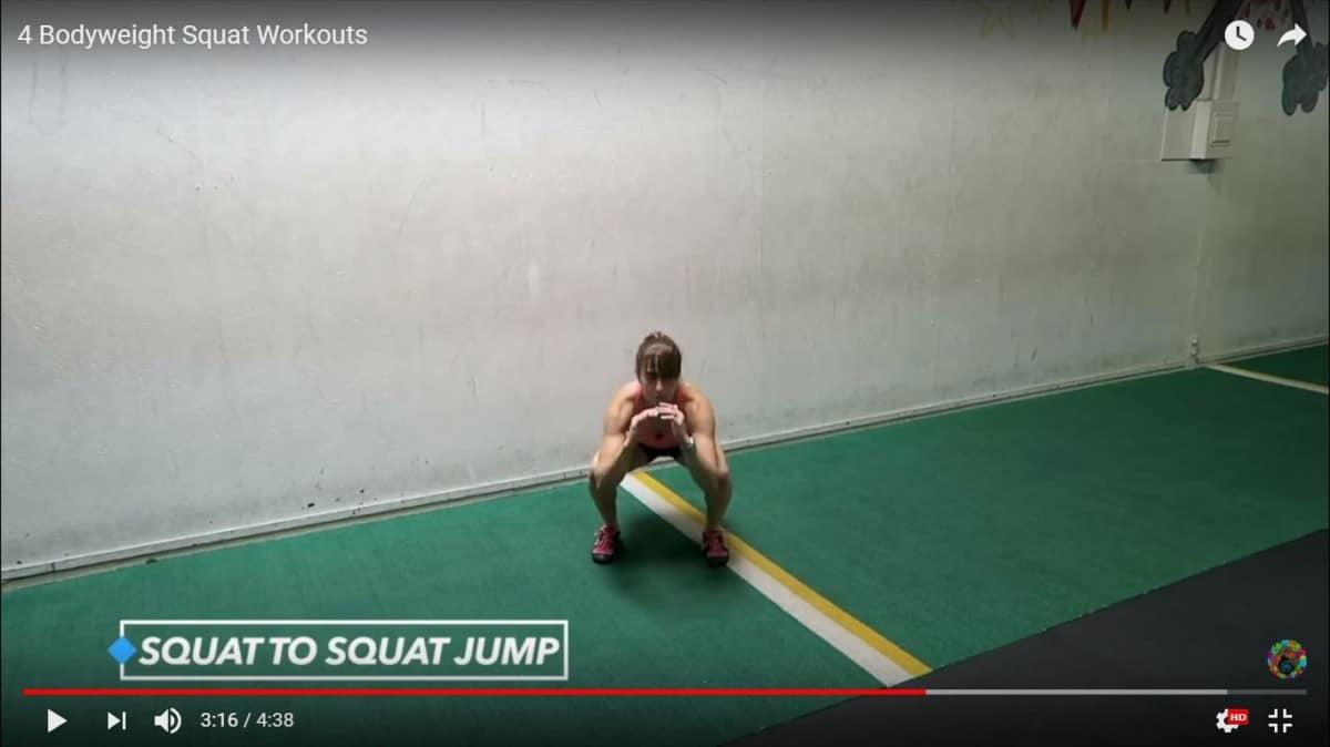 bodyweight squat workout: squat to squat jump