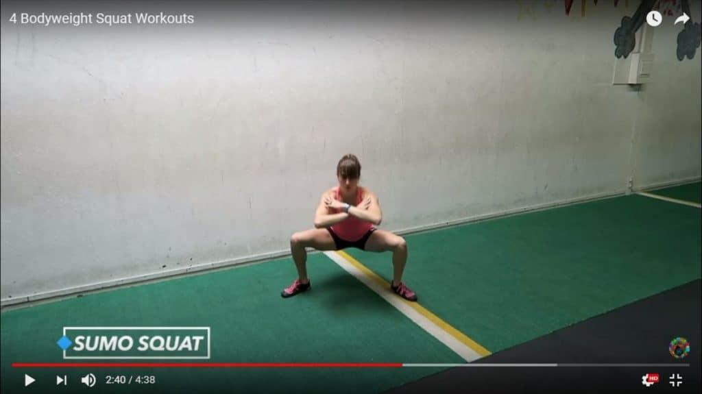 bodyweight squat: sumo squat