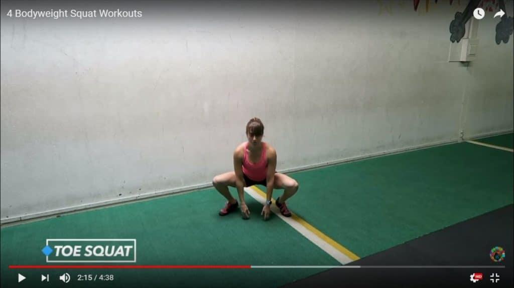 bodyweight squat: toe squat