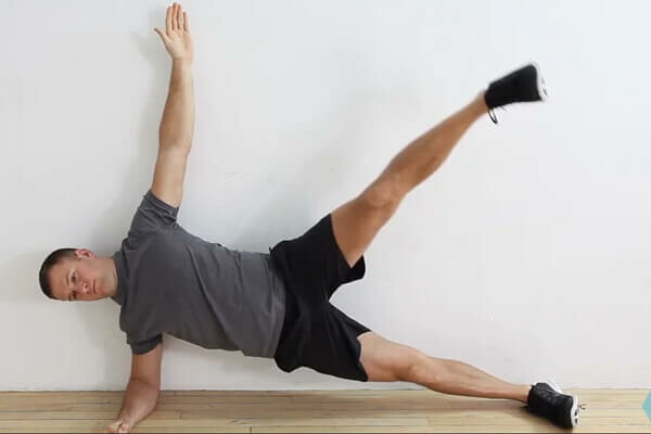 Side Plank Wall-Slide With Arm Abducted